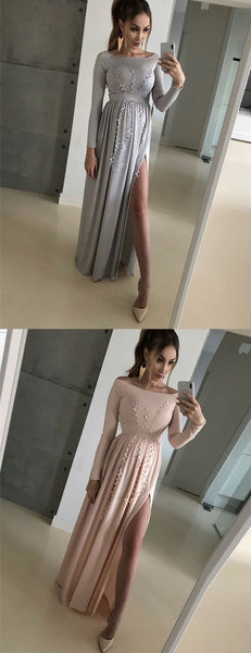 A Line Bateau Long Sleeves Floor Length Satin Prom Dress with Appliques, F0919