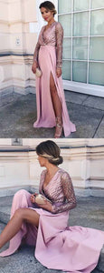 Elegant A Line V Neck Floor Length Pink Satin Prom Dress with Sequins Split, F0923