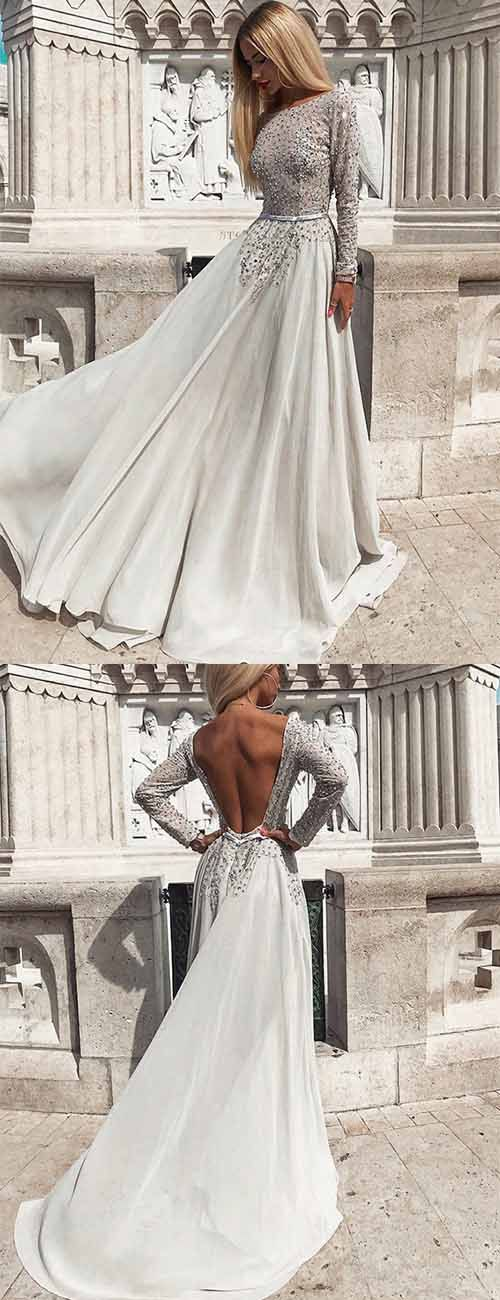 Unique Crew Long Sleeves Backless Grey Chiffon Prom Dress with Beading, F0926