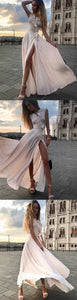 Simple V Neck Floor Length Pearl Pink Chiffon Prom Dress with Split, F0927