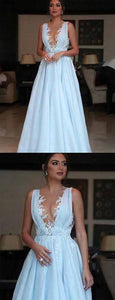 Beauty Deep V Neck Floor Length Light Blue Satin Prom Dress with Appliques, F0928