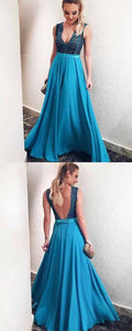A Line Deep V Neck Floor Length Blue Satin Prom Dress with Beading Bowknot, F0930