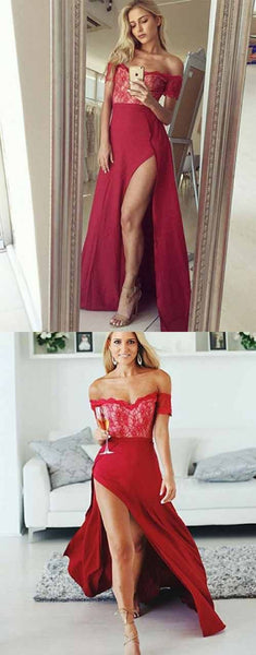 Hot A Line Off the Shoulder Floor Length Red Prom Dress with Lace Split, F0931