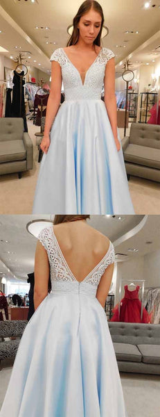 Beauty A Line V Neck Floor Length Light Blue Satin Prom Dress with Lace, F0932