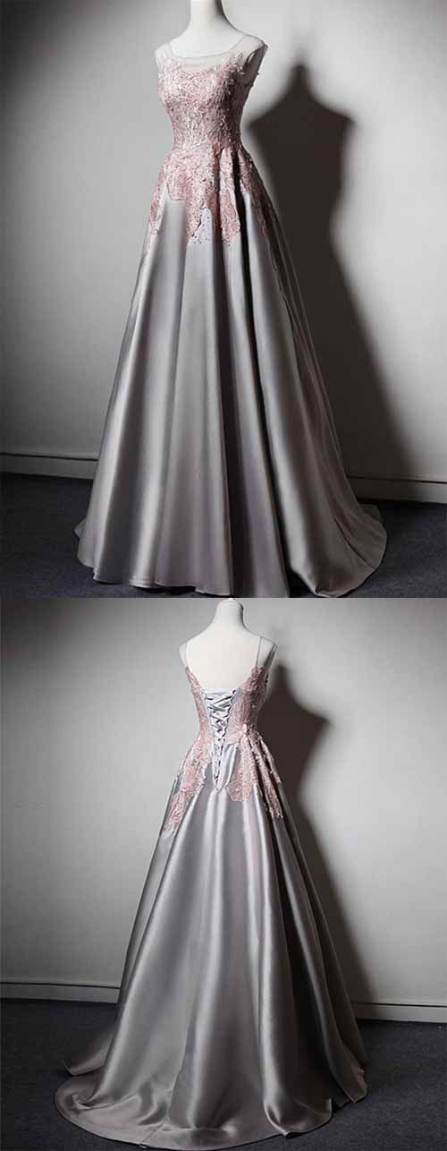 Fashion A Line Jewel Sweep Train Silver Satin Prom Dress with Appliques, F0933