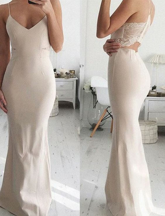 Sheath Spaghetti Straps Long Light Champagne Satin Prom Dress with Lace, F0934