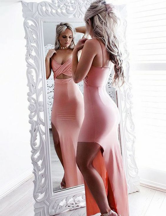 Sexy Sheath Spaghetti Straps Floor Length Pink Satin Prom Dress with Split, F0935