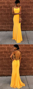 Simple Mermaid Spaghetti Straps Criss Cross Straps Yellow Prom Dress, F0936
