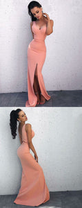 Trendy Sheath One Shoulder Floor Length Pink Prom Dress with Split, F0937