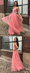 Fashion A Line V Neck Floor Length Pink Tulle Prom Dress with Beading, F0938