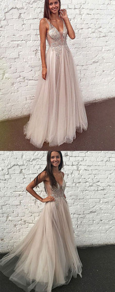 Simple A Line V Neck Floor Length Sleeveless Tulle Prom Dress with Beading, F0939