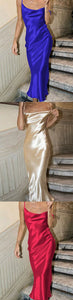 Charming Sheath Spaghetti Straps Backless Tea Length Satin Prom Dress, F0940