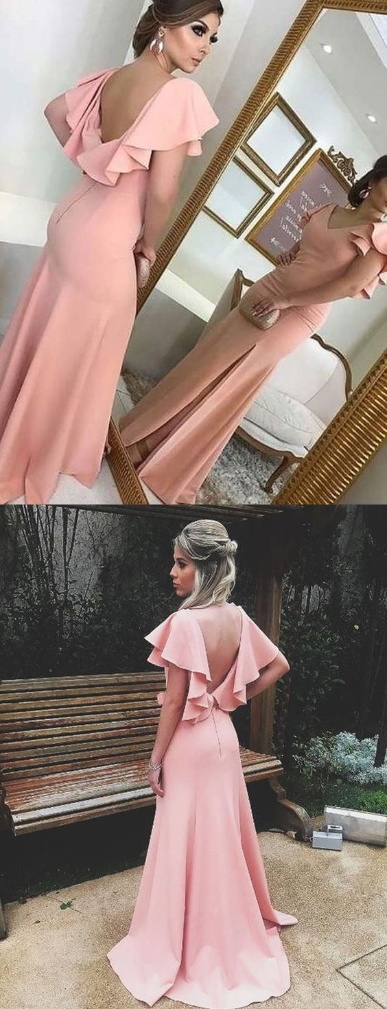 Gorgeous Sheath V Neck Ruffled Sleeves Split Pink Long Prom Evening Dress, F0941