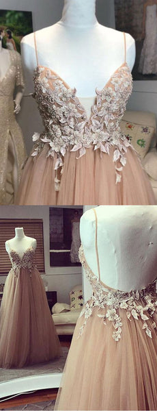 Fashion A Line Spaghetti Straps Champagne Long Prom Dress With Appliques, F0944