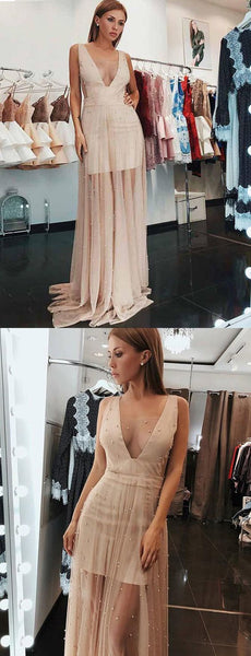 Stylish A Line V Neck Sleeveless Champagne Long Prom Dress with Beading, F0945