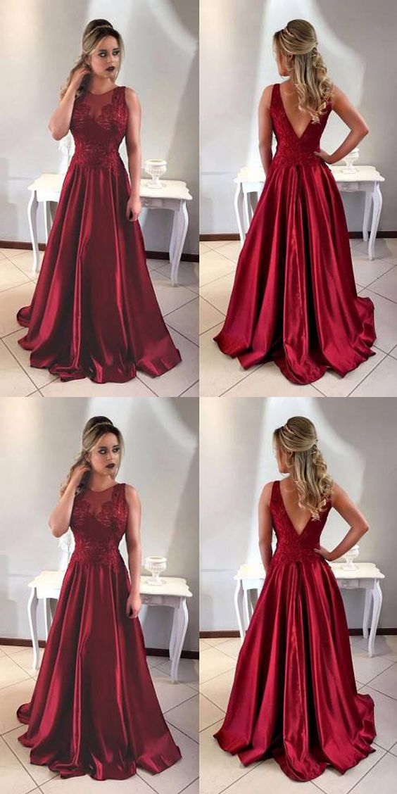 Elegant A-Line Jewel Sleeveless Burgundy Long Prom Dress With Appliques, F0951