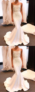 Luxurious Mermaid Strapless White Long Prom Dress With Lace Beading, F0953