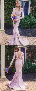 Long Sleeve Deep V-Neck Mermaid Prom Dresses, Soft Satin V-Back Evening Dresses, F0956