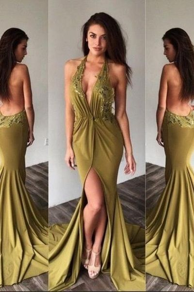 Appliques Prom Dresses,Backless Prom Dress, Halter Prom Dresses,Long Formal Gown,Sleeveless Cheap Prom/ Evening Dress, F0962