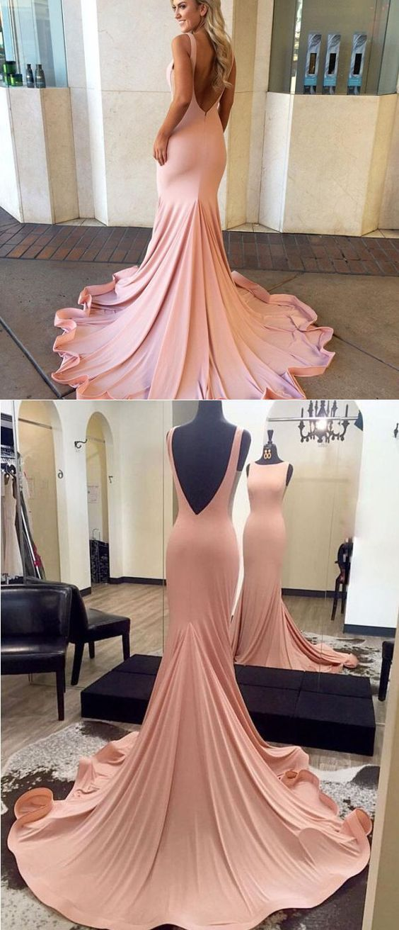 Pink long prom dress, 2019 mermaid long prom dress, backless prom dress, gorgeous pink mermaid long evening dress, F0963