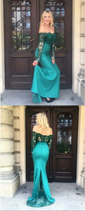 Mermaid Off-the-Shoulder Turquoise Prom Dress with Lace Long Evening Dress, F0967