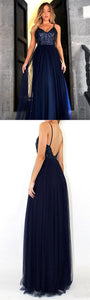 A-Line Spaghetti Straps Sweep Train Navy Blue Tulle Prom Dress with Sequins, F0968