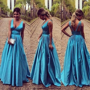 Elegant Blue V-neck Sleeveless Floor Length Backless Prom Dress with Pleats, F0973