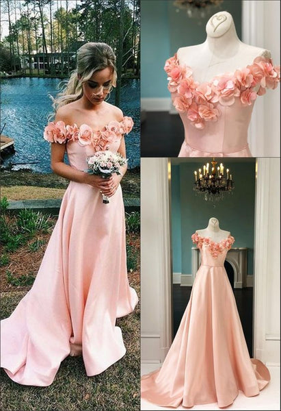 A-Line Off-the-Shoulder Sweep Train Pink Satin Sleeves Prom Dress with Flowers, F0974