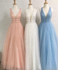 A-Line Deep V-Neck Sweep Train Pink Tulle Backless Prom Dress with Beading Sequins, F0975