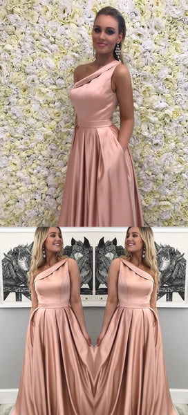 A-Line One-Shoulder Sweep Train Pink Satin Sleeveless Ruffles Prom Dress, F0979