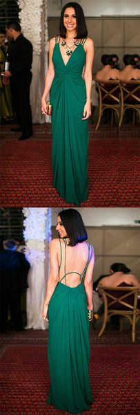 A-Line Deep V-Neck Floor-Length Green Chiffon Open Back Prom Dress, F0981