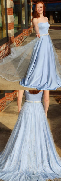 A-Line Sweetheart Sweep Train Blue Tulle Sleeveless Prom Dress with Beading Sequins, F0982