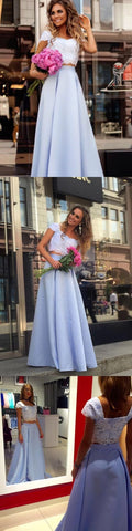 Two Piece Square Floor-Length Blue Satin Cap Sleeves Prom Dress with Appliques, F0983