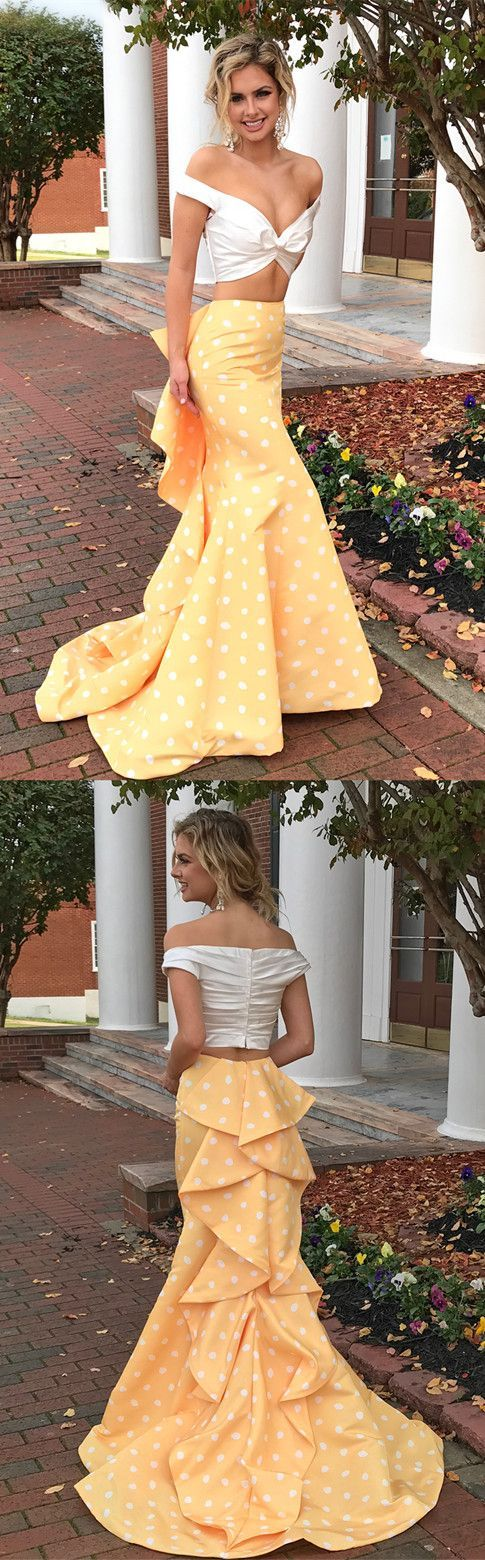 Two Piece Off-the-Shoulder Sweep Train Spots Yellow Satin Prom Dress with Ruffles, F0984