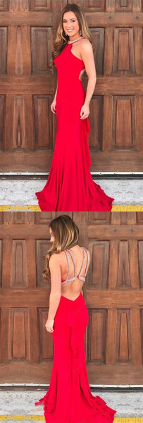 Mermaid Jewel Sweep Train Red Stretch Satin Open Back Prom Dress with Beading, F0987