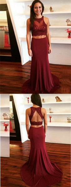 Two Piece Round Neck Sweep Train Burgundy Prom Dress with Appliques, F0988
