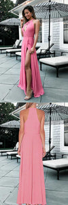 A-Line Round Neck Floor-Length Keyhole Pink Prom Dress with Split, F0989