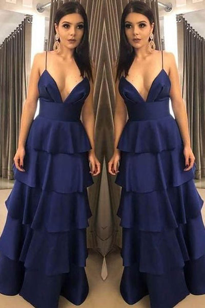 Unique A Line V Neck Spaghetti Straps Navy Satin Long Prom Dresses, F0993