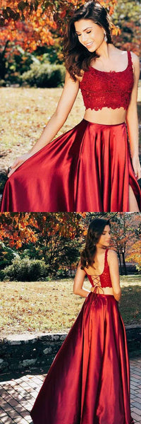 Two Pieces Scoop Sleeveless Burgundy Split Criss Cross Back Prom Dress , F0996
