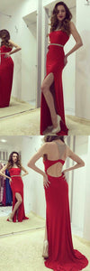 Sheath Round Neck Open Back Red Spandex Prom Dress with Beading Split, F0997