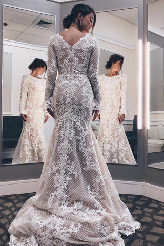 Long Sleeves Mermaid Court Train Wedding Dress with Appliques,FLY001