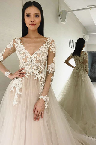 Illusion Sleeves V-Neck Ivory Wedding Dress with Appliques,FLY005