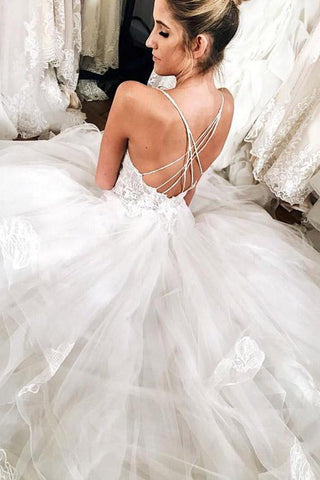 Tiered Spaghetti Straps Applique White Wedding Dress with Open Back,FLY007