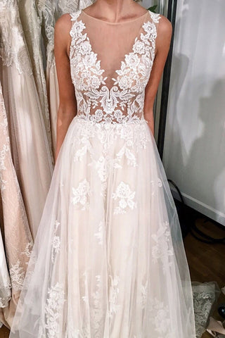 Illusion Neck Sheer Back Wedding Dress with Lace Appliques,FLY008