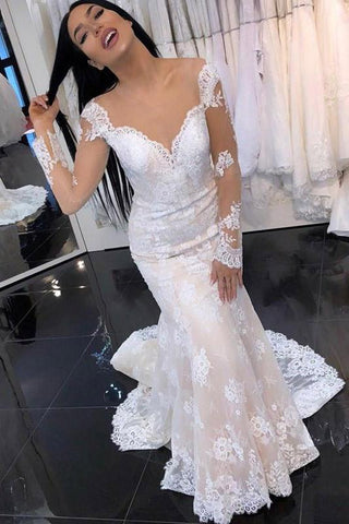 Mermaid Lace Applique Court Train Ivory Wedding Dress with Sheer Back,FLY009