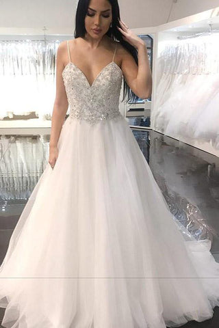 Sweetheart Backless Beading Long Wedding Dress,FLY010