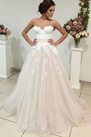 Sweetheart Long Wedding Dress with Lace Appliques,FLY012