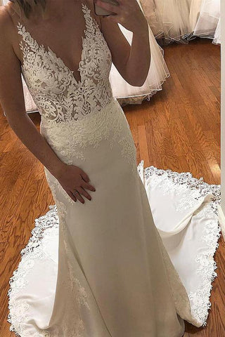 Mermaid Ivory Appliques Long Bridal Dress with Train,FLY015