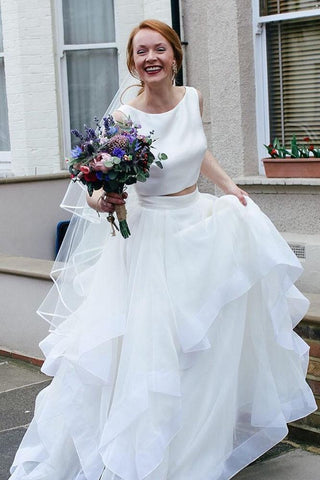 Two Piece White Cascading Long Wedding Dress,FLY018