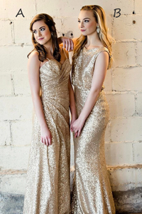 Sparkling Mismatch Gold Sequins Long Bridesmaid Dress,FLY037